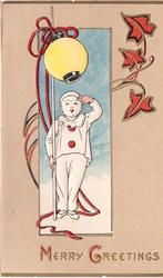 MERRY GREETINGS inset boy in pierrot costume salutes with one hand & holds yellow lantern the other, red leaves upper right