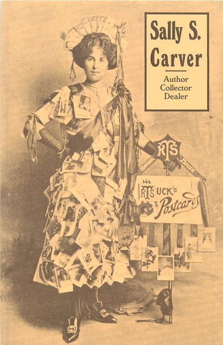 advert for TUCK'S POSTCARDS, woman wearing postcards stands facing front by cart