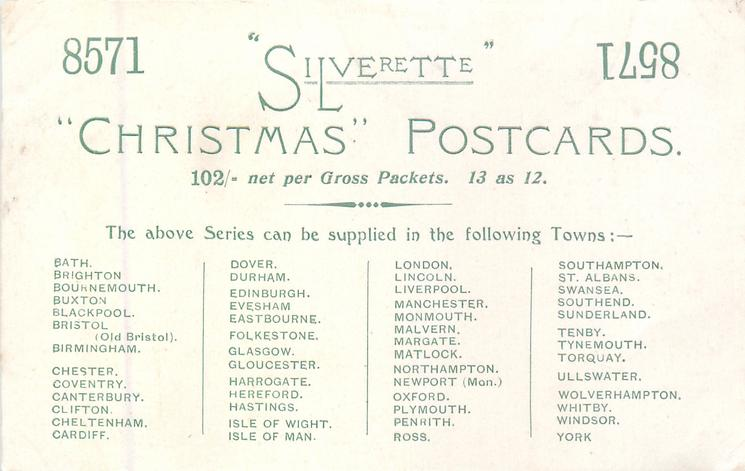 """8571 """"SILVERETTE"""" """"CHRISTMAS"""" POSTCARDS.102/- PER GROSS PACKETS/ 13 as 12"""