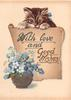 WITH LOVE AND GOOD WISHES on scroll with kitten peering over top, gilt pot of forget-me-nots front