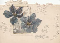 A JOYFUL EASTER-TIDE in silver, 2 violets appear to come forward through oblong window