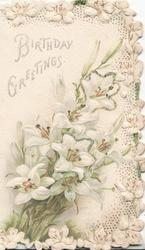 BIRTHDAY GREETINGS above lilies, elaborate floral marginal design