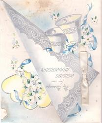 MY MESSAGE FOR OUR WEDDING ANNIVERSARY on silvered flap with bells, flowers on die-cut yellow background