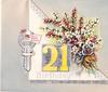 THE BEST OF LUCK ON YOUR 21ST BIRTHDAY  silvered key with MANY HAPPY RETURNS tag, die-cut heather on flap,right