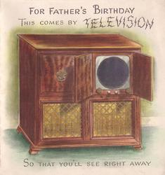 FOR YOUR FATHER'S BIRTHDAY  THIS COMES BY TELEVISION tv with round mirrored inset
