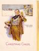 CHRISTMAS CHEER man in tan suit holds drink in one hand & hat in the other, inset with stagecoach behind