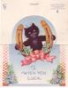 TO WISH YOU LUCK black cat, on die-cut circle, within horeshoe adorned with heather & pink bow