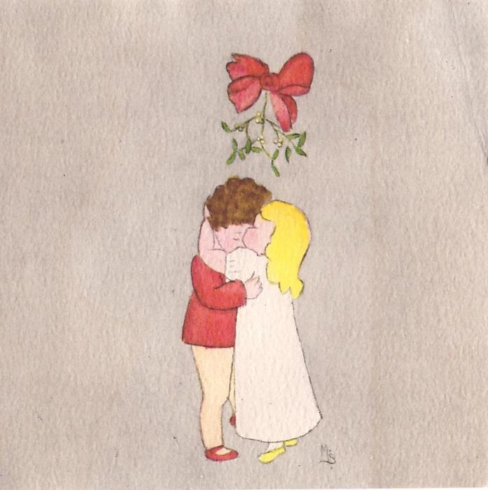 no front title, young children embrace under mistletoe, grey background