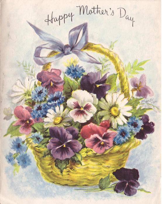 HAPPY MOTHER'S DAY pansies, cornflowers & daisies in woven basket with handle
