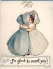 SO GLAD TO MEET YOU! two girls, wearing bonnets, embrace under gilt mistletoe, partial blue border