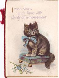 I WISH YOU A HAPPY TIME WITH PLENTY OF A-MOUSE-MENT cat wearing blue bow sits on ottoman, forget-me-nots front left