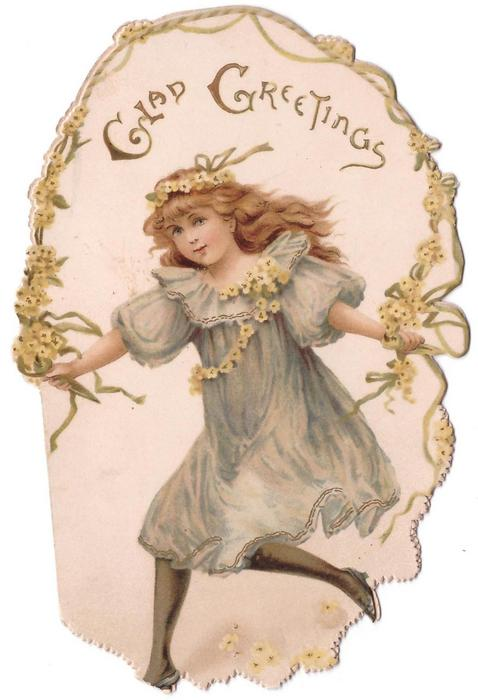 GLAD GREETINGS girl in blue grey dress holds skipping rope adorned with yellow flowers