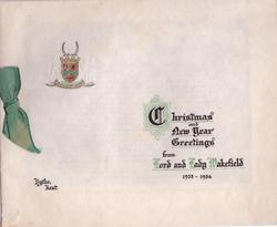 CHRISTMAS AND NEW YEAR GREETINGS FROM LORD AND LADY WAKEFIELD 1933-1934, HYTHE, KENT partially gilt embossed crest upper left
