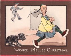 WISHEE MELLEE CHRISTMAS man holding axe walks right with dog on leash--  Chinese  stereotype