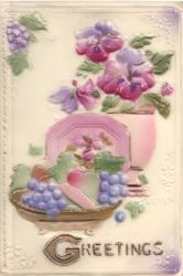 on celluloid front GREETINGS in gilt below bowl of fruit, plate & bowl of flowers, stylised floral designs