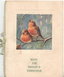 WITH THE SEASON'S GREETINGS in green below inset of 2 perched English robins