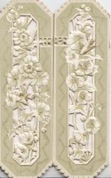 no front title, white flowers on perforated flaps open to show small birds & sparse design