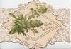 GOOD WISHES in gilt right,  mignonette  central & stylised flowers on white placard