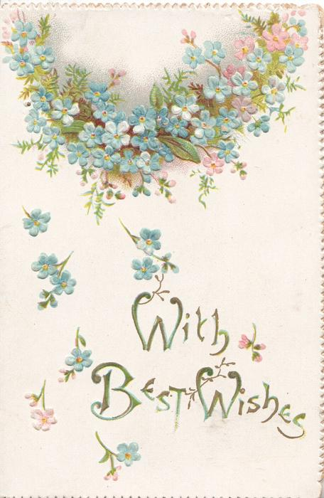 WITH BEST WISHES in gilt below forget-me-nots