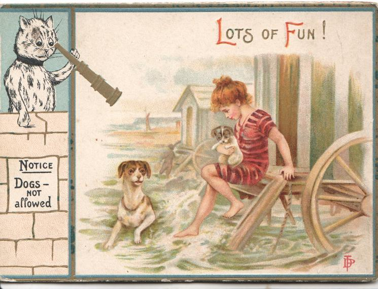 LOTS OF FUN! in red & gilt, girl has puppy on lapsitting on bathing hut  step, dog in sea, cat watches through telescope NOTICE DOGS NOT ALLOWED  on wall
