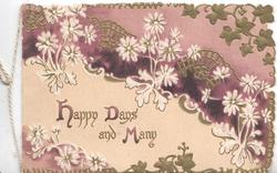 HAPPY DAYS AND MANY (illuminated) on cream plaque under stylised floral design, purple background