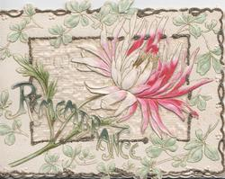 REMEMBRANCE in green below left , pink chrysanthemum above right, glittered