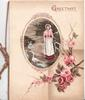 GREETINGS in gilt above oval rural inset of girl with 4 geese, pink roses below right