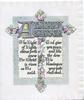A HAPPY EASTER(illuminated) in silver on elaborate embossed cross in front of plaque decorated with narcissi, above verse