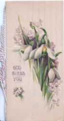 GOD BLESS YOU in gilt left on cream cover, snowdrops right