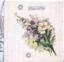 GREETINGS in green on cream on cream cover with narcissi