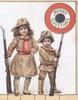 MERRIE GREETING in gilt in red & gilt bordered circular plaque over boy & girl in khaki uniform standing with rifles