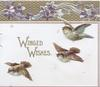 WINGED WISHES in gilt left, 3 birds of happiness, gilt & violets design at top