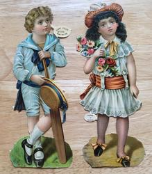 boy with cricket bat, girl with bouquet of flowers
