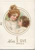 WITH LOVE (illuminated) in gilt below inset head & shoulders of boy & girl looking in each others eyes