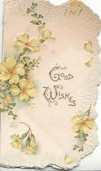 GOOD WISHES in gilt at centre, yellow primroses around