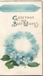 GREETINGS AND BEST WISHES in gilt above wreath of blue forget-me-nots hanging from blue ribbon