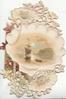 BEST WISHES in gilt above & below, seascape on shell inset, much perforated design