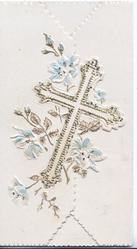 no front title, designed cross on left flap, stylised flowers around