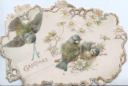 blue bird flies with GREETINGS in gilt on white plaque, 2 blue birds perched on white yellow centred daisies