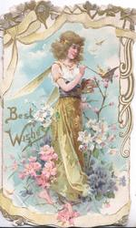 BEST WISHES  in gilt, angel stands painting wing of perched butterfly, pink & white wild roses below