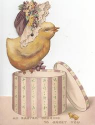 AN EASTER OPENING TO GREET YOU. chick wearing hat perched on hat-box
