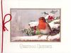 CHRISTMAS GREETINGS inset robin on snowy ledge, holly beind, house left