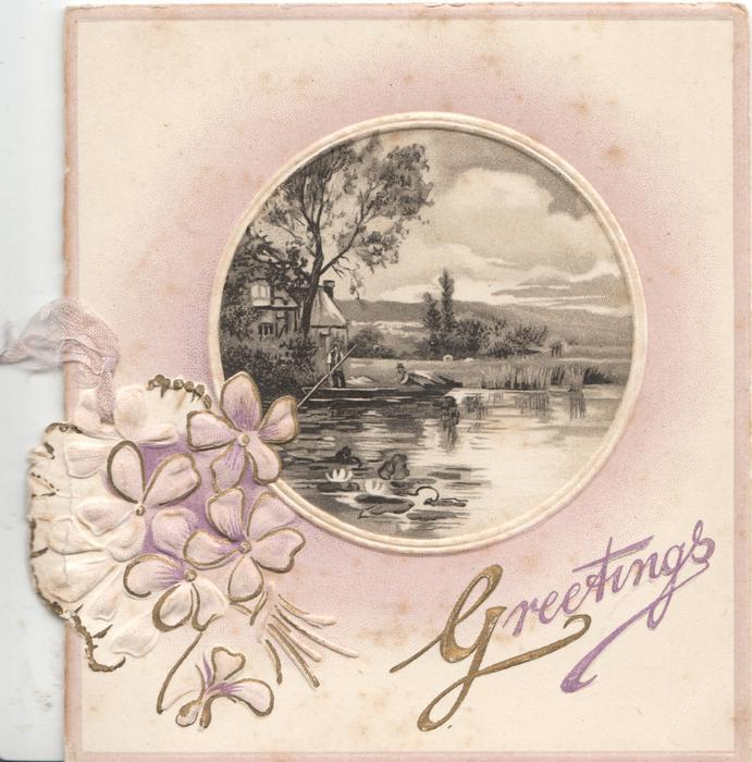 GREETINGS gilt inset lower right, pale rural violets left, circular watery rural inset
