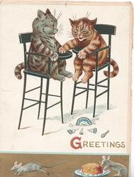 GREETINGS(G illuminated)wo cats sit in high chairs, broken plate on floor, 2 mice & cake on bottom