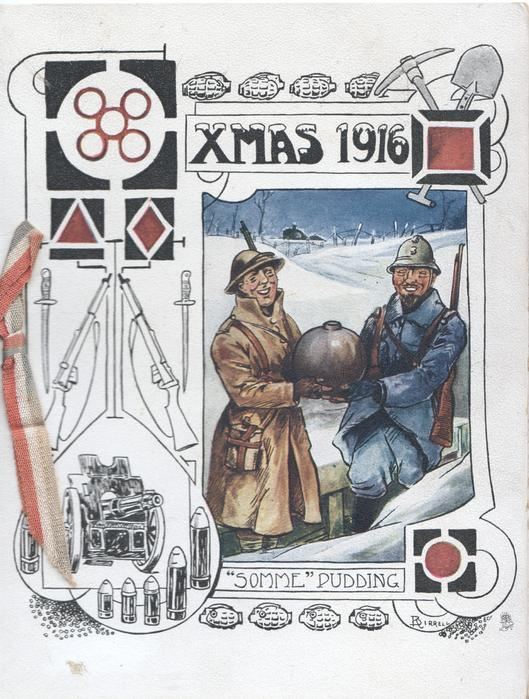 """XMAS 1916 """"SOMME PUDDING"""" soldiers in snowy trench covered pudding between them, guns left"""