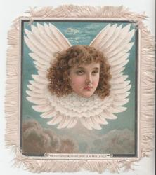 MAY EVERY CHRISTMAS GRACE, SHINE AS AN ANGEL'S FACE angel head with wings