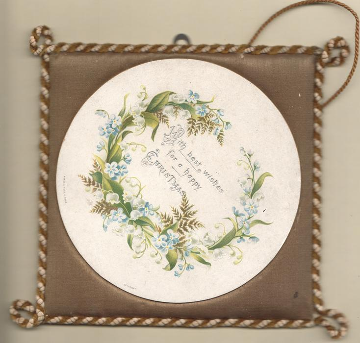 WITH BEST WISHES FOR A HAPPY CHRISTMAS circular white plaque, in silver with forget-me-nots, fern & lilies of the valley