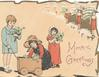 MERRIE GREETINGS 3 children with holly & cart, distant stick people top right