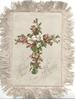 CHRIST OUR PASSOVER front & back below floral crosses, forgetme nots on one side, heather  & white flowers on the other