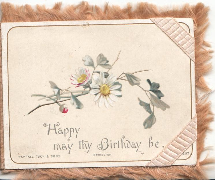 HAPPY MAY THY BIRTHDAY BE below white daisies, golden fringes